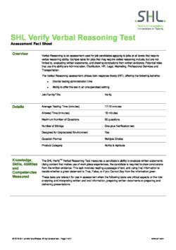 Verify Verbal Reasoning Test
