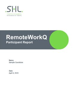 RemoteWorkQ - Participant Report