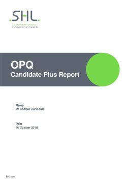 SHL OPQ32 Candidate Plus Report