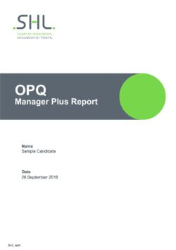 SHL OPQ32 Manager Plus Report