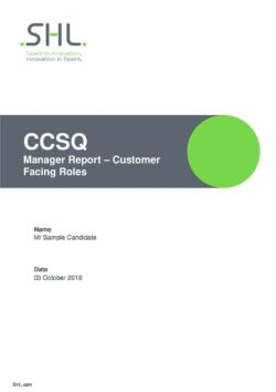 Customer Service Questionnaire - Manager Report - Customer Facing Roles