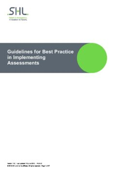 Guidelines for Best Practice in Implementing Assessments